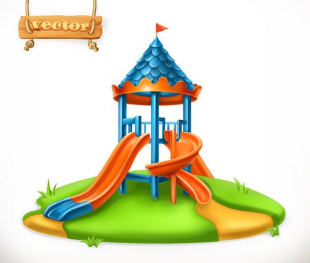 Playground slide. Play area for children Illustration