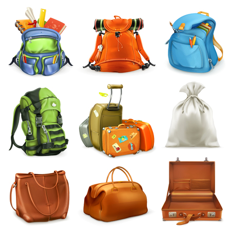 Bags set. Backpack, schoolbag, suitcase, sack, 3d vector icon