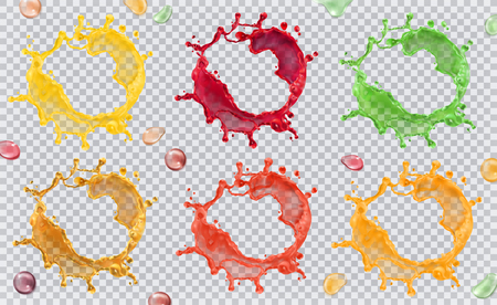 Fruit juice, splashes of paint. 3d vector icon set