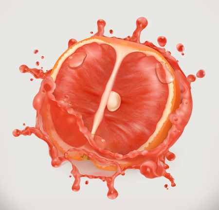 Grapefruit juice. Fresh fruit, 3d vector icon illustration. Illustration