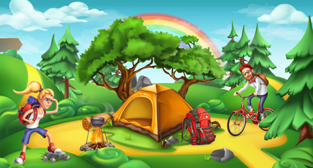 Camping and adventure time, nature landscape 3d vector panorama.