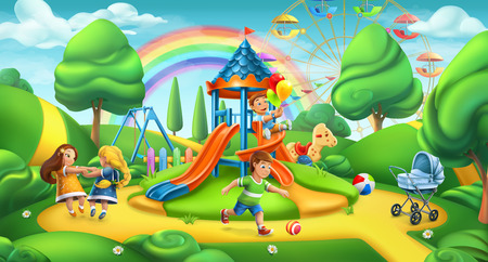 Children playground nature landscape park 3d vector panorama. Illustration