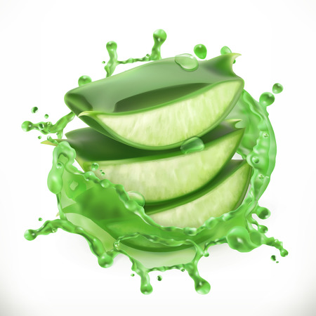 Aloe juice, health and care 3d vector icon illustration.