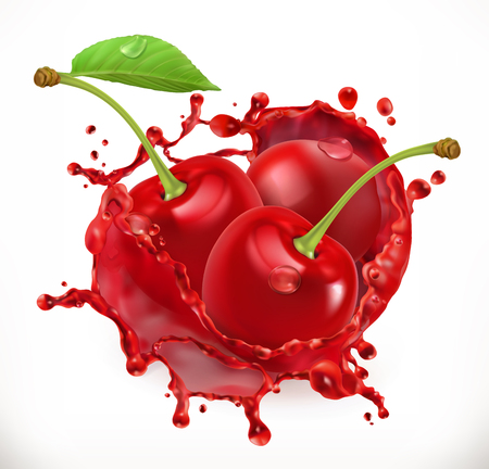 Cherry juice fresh fruit, 3d vector icon. Illustration