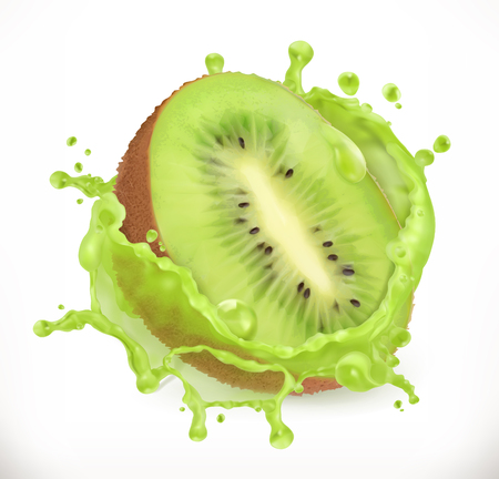 Kiwi fruit juice. Fresh fruit, 3d vector icon illustration.