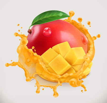 Fresh fruit juice, 3d vector icon.