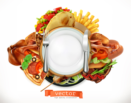 Fast food icon, sandwich, steak, chicken, french fries, tacos, sausages, pizza, 3d vector icon, realism style.