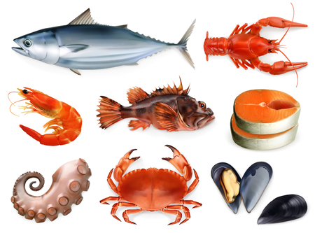 Fish, crayfish, mussels, octopus. 3d vector icon set. Illustration