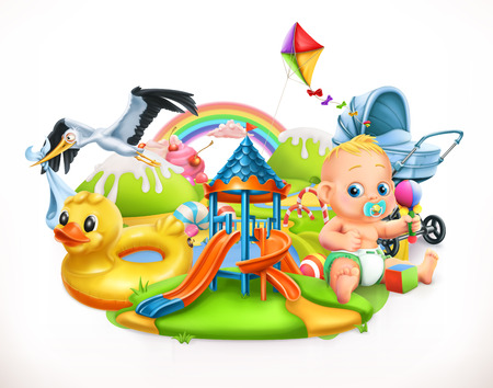 Kids and toys children playground 3d vector illustration.