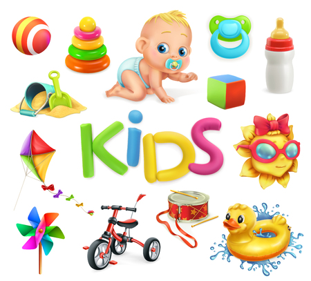 Kids and toys. Children playground, 3d vector illustration. Stock Illustratie