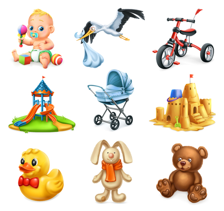 Children playground kids and toys, 3d vector icons set.