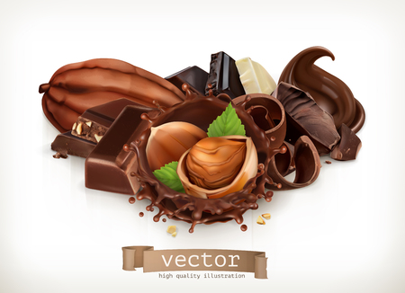 Chocolate bars and pieces hazelnut and chocolate splash. Realistic illustration, 3d vector icon.