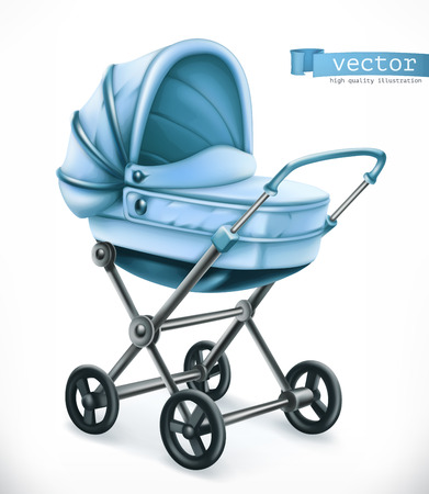 Baby carriage. Stroller 3d vector icon illustration. Illustration