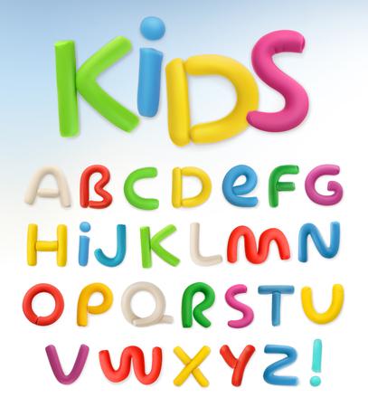 3d plastic font. Children and school vector set Illustration