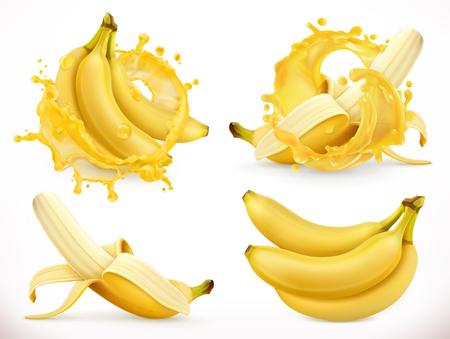 Banana juice. Fresh fruit and splash, 3d realistic vector icon Illustration