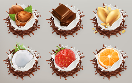 Fruit, berries and nuts. Milk and chocolate splashes, ice cream. 3d vector icon set
