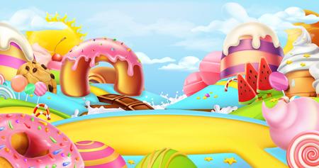 Glade dans un pays de bonbons. Paysage doux, panorama de vecteur 3d