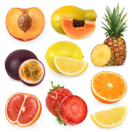 Juicy ripe sweet fruit. 3d realism, vector icon set Illustration