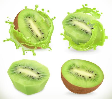 Kiwi fruit juice. Fresh fruits and splash, 3d realistic vector icon Illustration