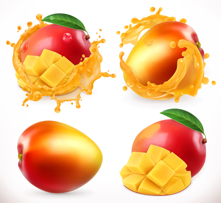 Mango juice. Fresh fruit, 3d realistic vector icon Illustration