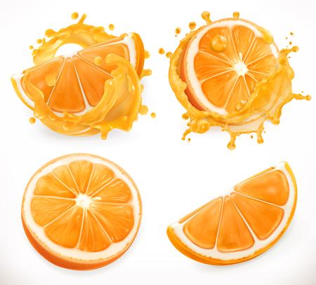 Orange juice. Fresh fruit and splashes. 3d realism, vector icon set Illustration