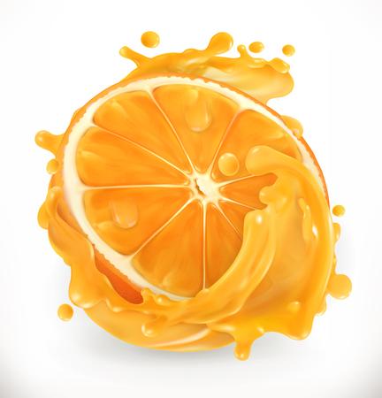 Orange juice. Fresh fruit. 3d realism, vector icon Illustration
