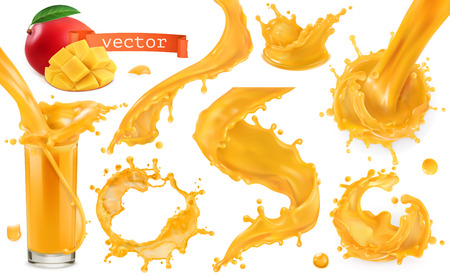 Orange paint splash. Mango, pineapple, papaya juice. 3d realistic vector icon set Vectores