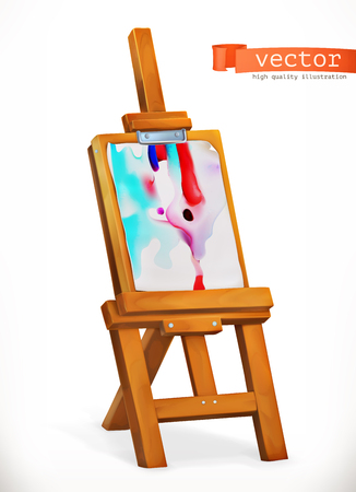Paint easel. 3d vector icon