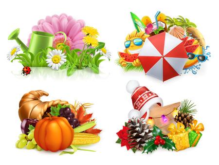 Spring, Summer, Autumn, Winter. Four seasons concept, 3d vector set Illustration