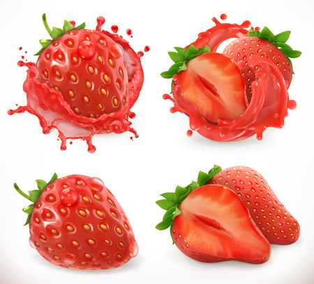 Strawberry juice. Fresh fruit, 3d realistic vector icon Illustration