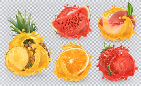 Strawberry, pineapple, orange, watermelon, peach juice. Fresh fruits and splashes, 3d vector icon set Illustration