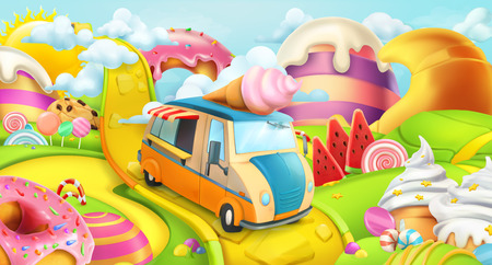 Sweet candy land. Ice cream truck. 3d vector background Illustration