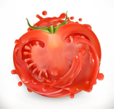 Tomato juice. Fresh vegetable. 3d realism, vector icon Illustration