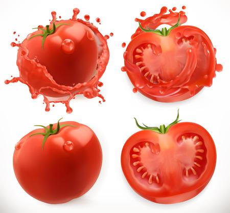 Tomato juice. Fresh vegetable. 3d realistic vector icon set
