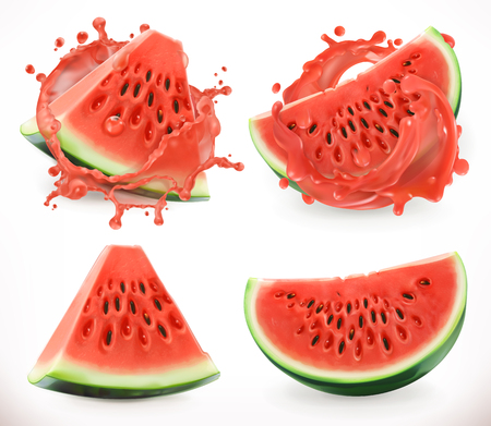 Watermelon juice. Fresh fruit, 3d realistic vector icon Illustration