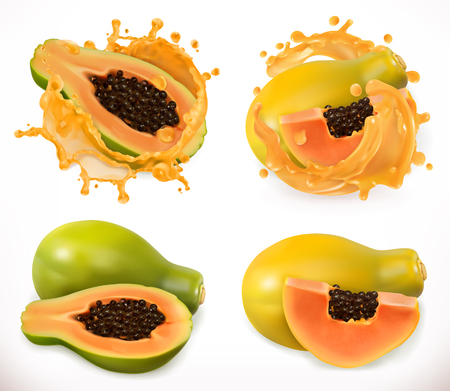 Papaya juice. Fresh fruit, 3d vector icon set