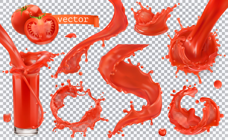 Red paint splash. Tomato, Strawberries. 3d realistic vector icon set