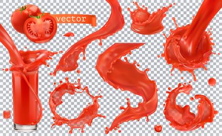 Roter Farbspritzer. Tomaten, Erdbeeren. Realistischer Vektorsymbolsatz 3d