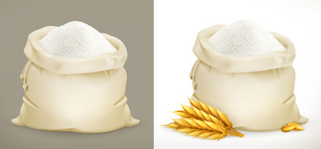 Bag of flour and wheat. 3d vector icon
