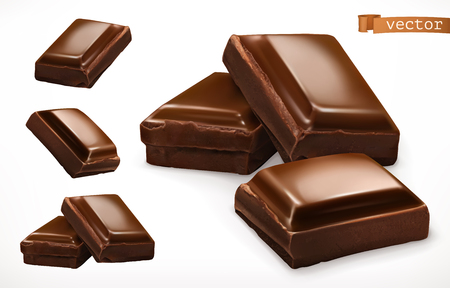 Chocolate pieces. 3d realistic vector icon