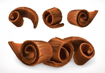 Chocolate shavings. 3d realistic vector icon