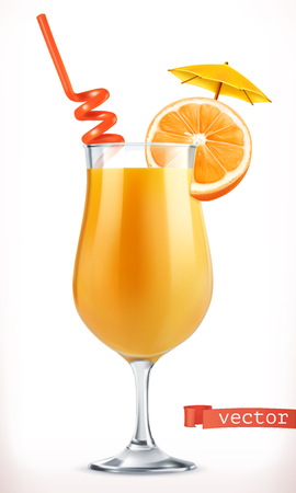 Cocktail orange. Fruit juice. 3d vector icon