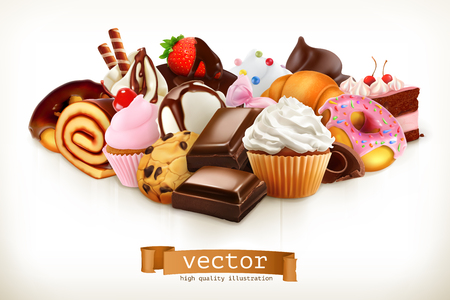 Confectionery. Chocolate, cakes, cupcakes, donuts. 3d vector illustration Illustration