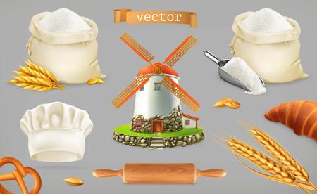 Farine. Moulin, blé, pain, toque. Jeu d'icônes vectorielles 3D