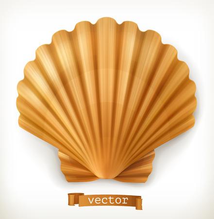Shell. 3d vector icon Illustration