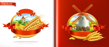 Wheat and old mill. 3d vector label Illustration