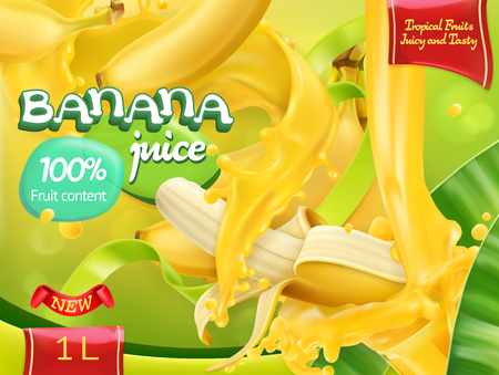 Banana juice. Sweet tropical fruits. 3d realistic vector, package design