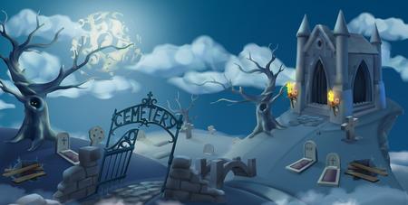 Cemetery, halloween background. Cartoon landscape panorama, 3d vector graphics