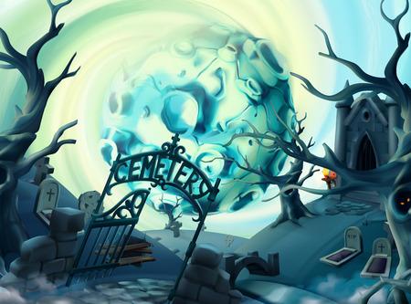 Cemetery, halloween background. Cartoon landscape, 3d vector graphics