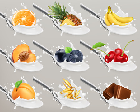 Fruit and berries yogurt. Milk splash. 3d realistic vector icon set Illustration